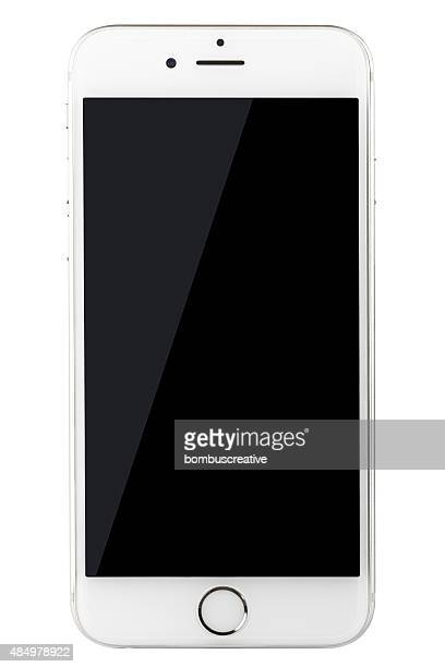 Silver iPhone 6 Isolated on Black with Blank Screen