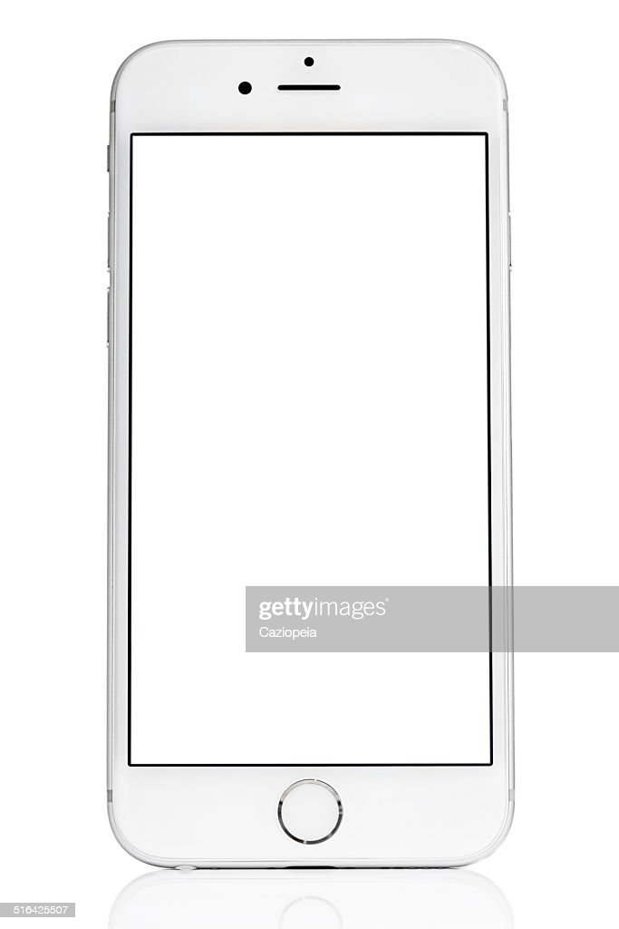 Silver iPhone 6 Isolated on White with Blank Screen : Stock Photo