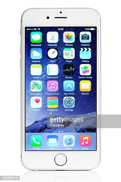 Silver iPhone 6 Isolated on White with iOS8 Default Apps