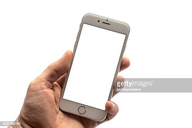 Plata iPhone 6s pantalla en blanco Aislado en blanco