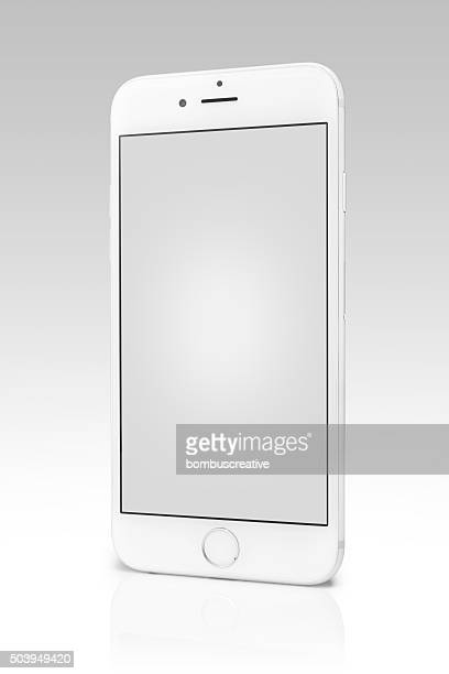 Silver iPhone 6s Isolated on White with Blank Screen