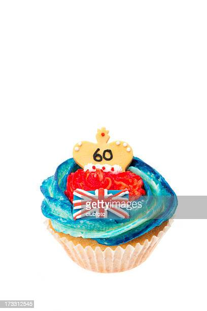 silver jubilee decorated cupcake - british flag cake stock pictures, royalty-free photos & images