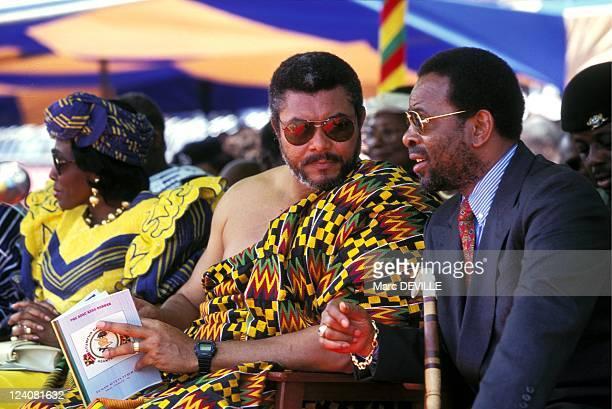 Silver Jubilee of Ashantis king Otumfo Opoku II In Kumasi Ghana On August 14 1995 Jerry Rawlings King Zulithini