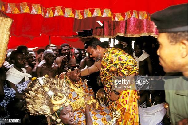 Silver Jubilee of Ashantis king Otumfo Opoku II In Kumasi Ghana On August 14 1995 Jerry Rawlings
