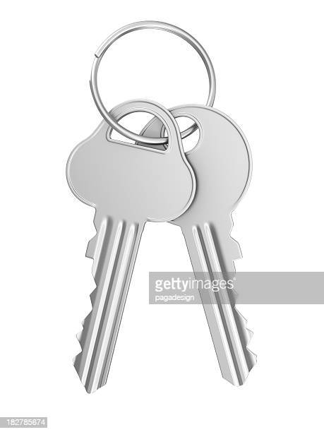 silver keys - key ring stock photos and pictures