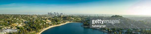 Silver Lake and Los Angeles Sprawl - Aerial Panorama