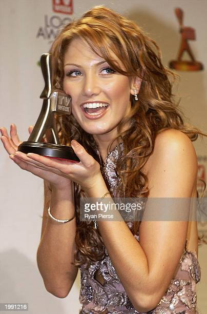 Silver Logie winner Actress/Singer Delta Goodrem for Most Popular New Female Talent poses at the Australian TV Week Logie Awards May 11 2003 in...