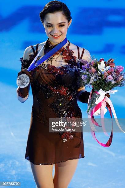 Silver madelist Evgenia Medvedeva of Russia poses with her medal after celebration ceremony in the Ladies Free Skating during the ISU European Figure...