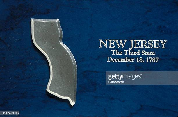 Silver map of the state of New Jersey