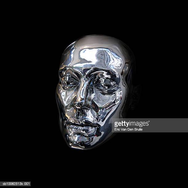 silver mask on black background - eric van den brulle stock pictures, royalty-free photos & images