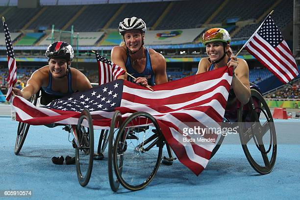 Silver medal Chelsea McClammer Gold medal Tatyana McFadden and Bronze medal Amanda McGrory of the United States celebrate the triple american podium...