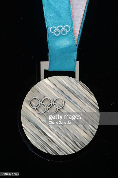 Silver medal on display at PyeongChang 2018 Olympic medal unveiling ceremony at the Seoul Dongdaemun Design Plaza on September 21 2017 in Seoul South...