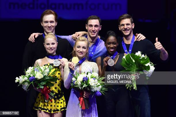 Silver medal Russia's Evgenia Tarasova and Vladimir Morozow Gold medal Germany's Aljona Savchenko and Bruno Massot and Bronze medal France's Vanessa...