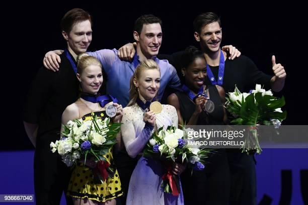 Silver medal Russia's Evgenia Tarasova and Vladimir Morozow Gold medal Germany's Aljona Savchenko and Bruno Massot and Bronze medal France's Vanessa...