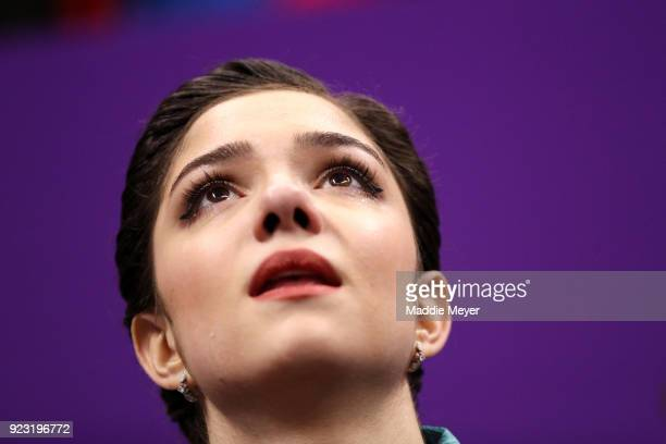 Silver medal winner Evgenia Medvedeva of Olympic Athlete from Russia reacts after competing during the Ladies Single Skating Free Skating on day...