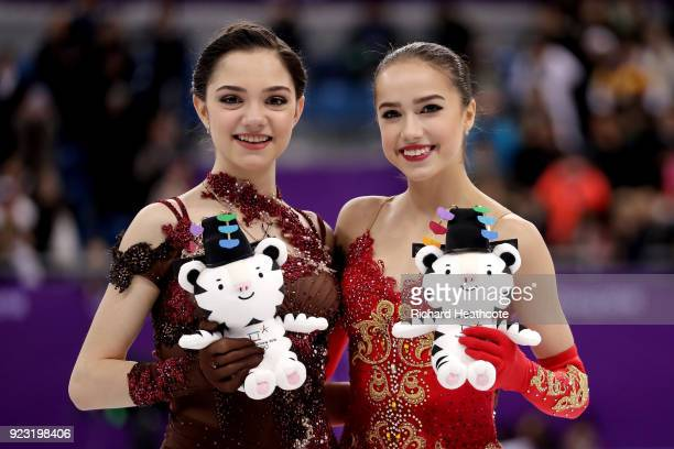 Silver medal winner Evgenia Medvedeva of Olympic Athlete from Russia and gold medal winner Alina Zagitova of Olympic Athlete from Russia celebrate...