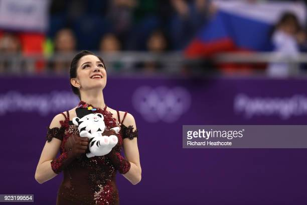 Silver medal winner Evgenia Medvedeva of Olympic Athlete from Russia celebrates during the victory ceremony for the Ladies Single Skating Free...