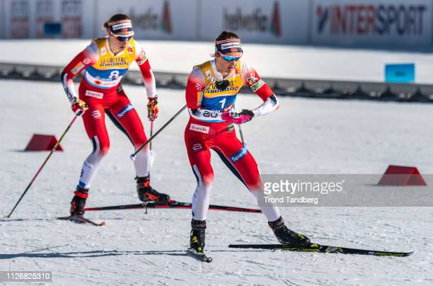 Silver Medal Winner Ingvild Flugstad Oestberg of Norway Astrid Uhrenholdt Jacobsen of Norway during FIS Nordic World Ski Championship Cross Country...