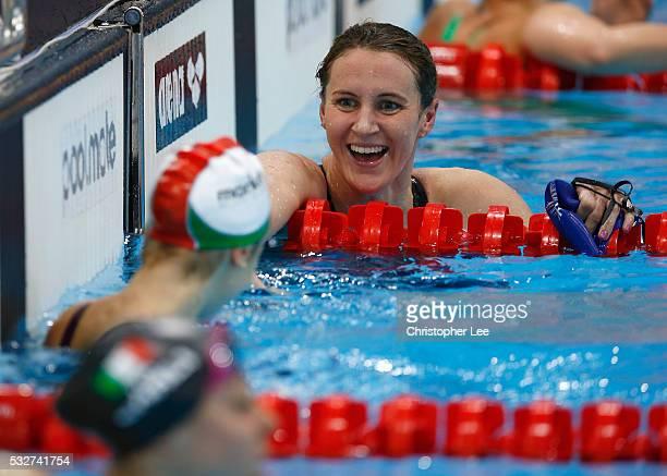Silver medal winner Jazmin Carlin of Great Britain smiles towards winner Boglarka Kapas of Hungary in the Women's 800m Freestyle Final during the...