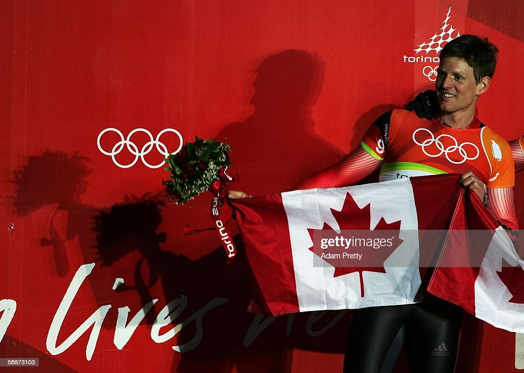 Silver medal winner Jeff Pain of Canada celebrates after the Mens Skeleton Single Final on Day 7 of the 2006 Turin Winter Olympic Games on February 17, 2006 in Cesana Pariol, Italy.