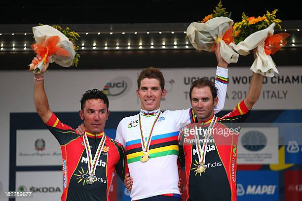 Silver medal winner Joaquin 'Purito' Rodriguez of Spain gold medal winner and new world champion Rui Costa of Portugal and bronze medal winner...