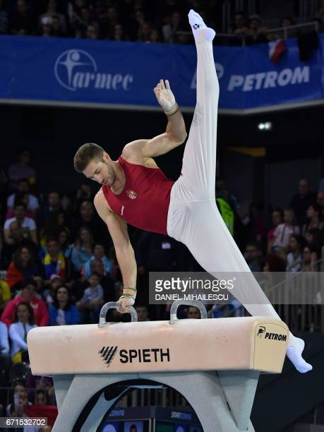 Silver medal winner Krisztian Berki of Hungary performs during the pommel horse apparatus final for the European Artistic Gymnastics Championship in...