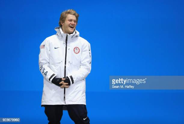 Silver medal winner Kyle Mack of the United States celebrates during the medal ceremony for Snowboard Men's Big Air on day fifteen of the PyeongChang...