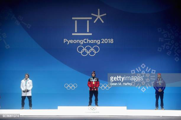 Silver medal winner Kyle Mack of the United States gold medal winner Sebastien Toutant of Canada and bronze medal winner Billy Morgan of Great...