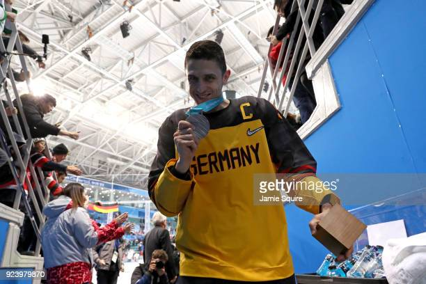 Silver medal winner Marcel Goc of Germany walks off the ice after being defeated by Olympic Athletes from Russia 43 in overtime uring the Men's Gold...