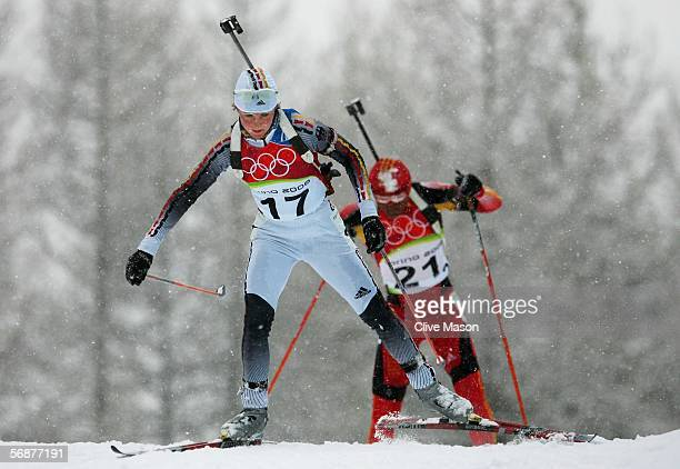 Silver Medal winner Martina Glagow of Germnay competes in the Womens Biathlon 10km Pursuit Final on Day 8 of the 2006 Turin Winter Olympic Games on...