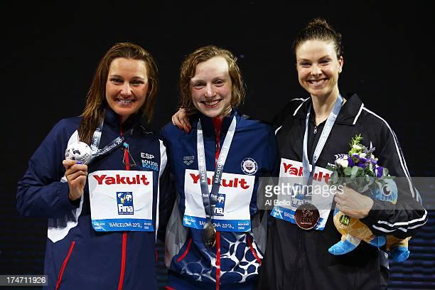 Silver Medal winner Melanie Costa Schmid of Spain Gold Medal winner Katie Ledecky of the USA and Bronze Medal winner Lauren Boyle of New Zealand...