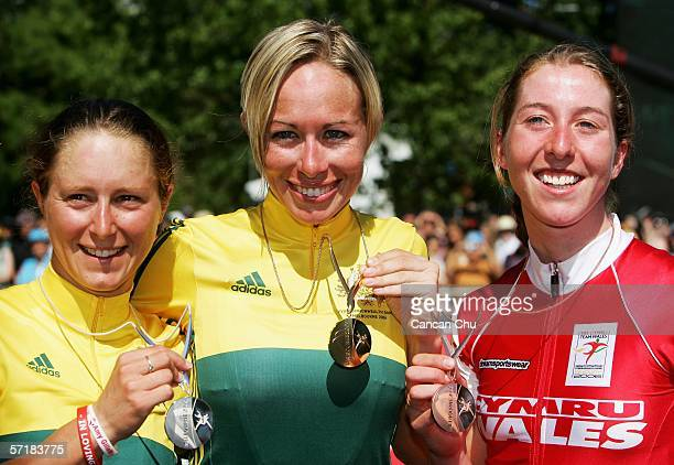 Silver medal winner Oenone Wood of Australia gold medal winner Natalie Bates of Australia and Nicole Cook of Wales pose together after the Women's...