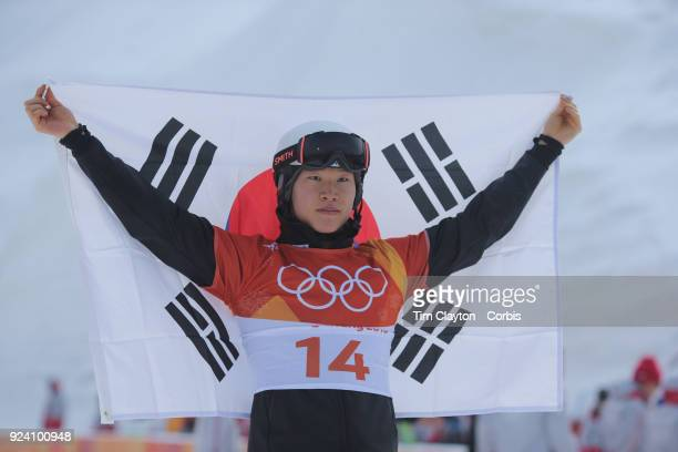 Silver medal winner Sangho Lee of Korea at the presentations during the Men's Snowboard Parallel Giant Slalom competition at Phoenix Snow Park on...