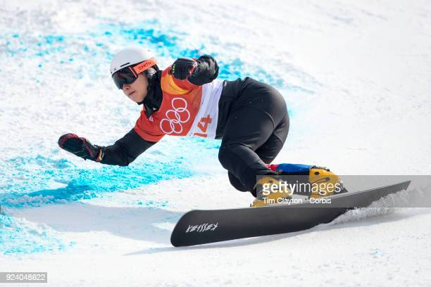 Silver medal winner Sangho Lee of Korea in action during the Men's Snowboard Parallel Giant Slalom competition at Phoenix Snow Park on February 24...