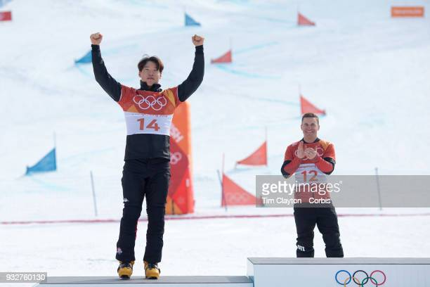 Silver medal winner Sangho Lee of Korea on the podium during the Snowboarding Parallel Giant Slalom competition at Phoenix Snow Park on February 24...