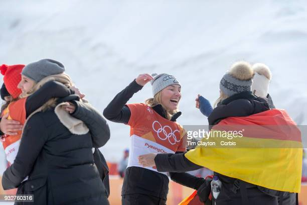 Silver medal winner Selina Joerg from Germany celebrates after the presentations during the Snowboarding Parallel Giant Slalom competition at Phoenix...