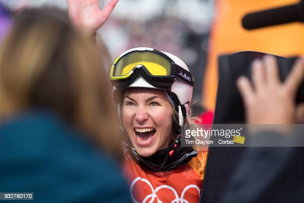 Silver medal winner Selina Joerg from Germany celebrates during the Snowboarding Parallel Giant Slalom competition at Phoenix Snow Park on February...