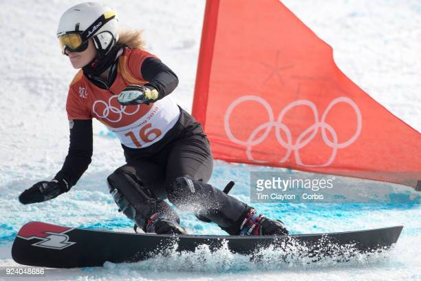 Silver medal winner Selina Joerg of Germany in action during the Snowboarding Parallel Giant Slalom competition at Phoenix Snow Park on February 24...