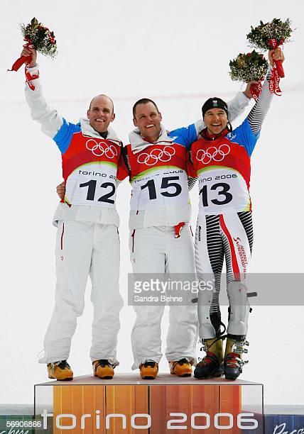Silver Medal winner Simon Schoch of Switzerland Gold Medal winner Philipp Schoch of Switzerland and Bronze Medal winner Siegfried Grabner of Austria...