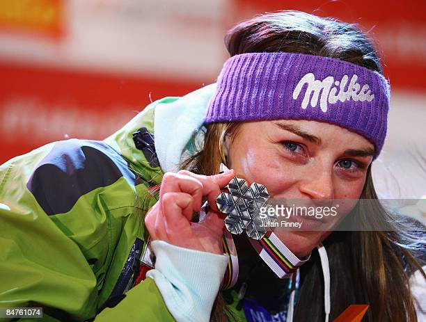 Silver medal winner Tina Maze of Slovenia celebrates at the Medal Ceremony after finishing second in the Women's Giant Slalom event held on the Face...
