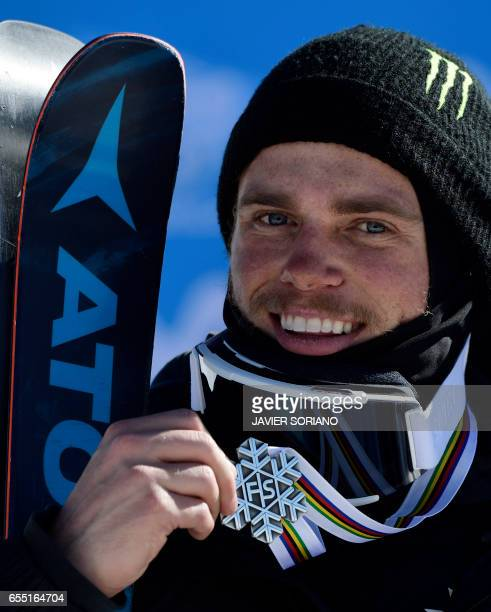 Silver medal winner US freestyler Gus Kenworthy celebrates on the podium of the men's SlopeStyle at the FIS Snowboard and Freestyle Ski World...
