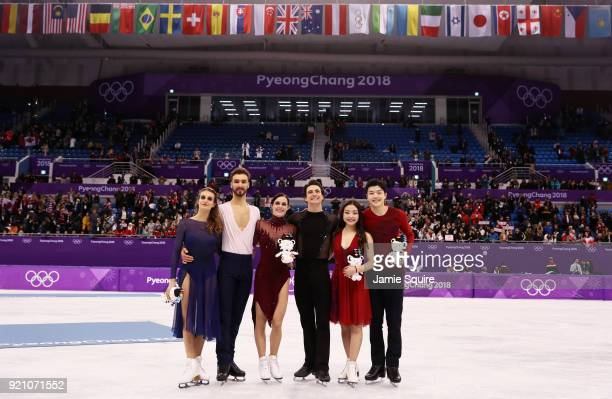 Silver medal winners Gabriella Papadakis and Guillaume Cizeron of France gold medal winners Tessa Virtue and Scott Moir of Canada and bronze medal...
