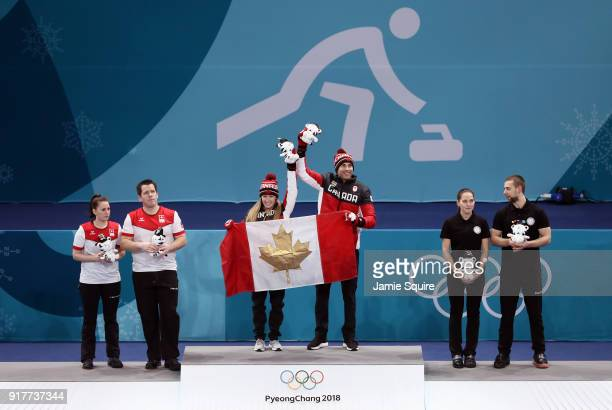 Silver medal winners Jenny Perret and Martin Rios of Switzerland Gold medal winners Kaitlyn Lawes and John Morris of Canada and Anastasia Bryzgalova...