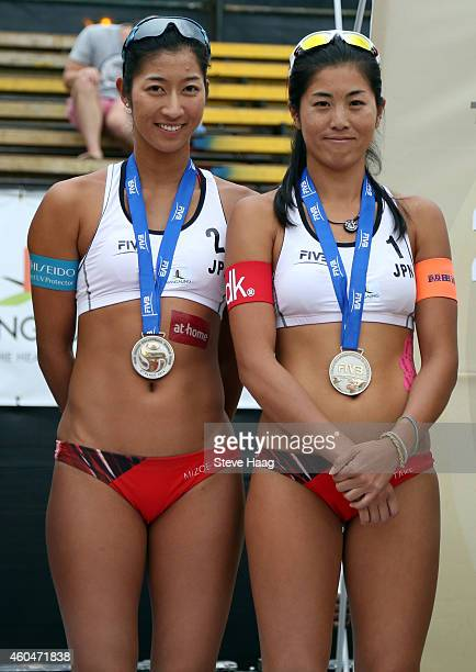 Silver medal winners Sayaka Mizoe and Takemi Nishibori of Japan during Day 6 of the FIVB Mangaung Open on December 14 2014 in Bloemfontein South...