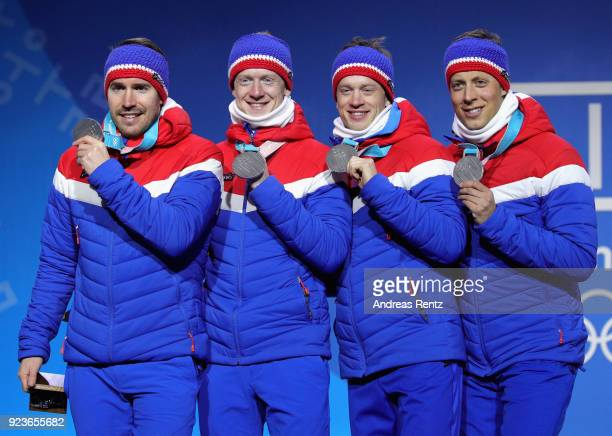 Silver medal winners team Norway celebrate during the medal ceremony for the Men's 4x75km Relay on day fifteen of the PyeongChang 2018 Winter Olympic...
