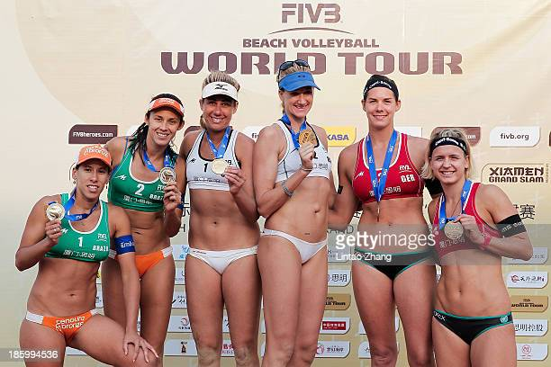 Silver medal winnersTaiana Lima and Talita Da Rocha Antunes of Brazil gold medal winners April Ross and Kerri Walsh of United States and Bronze medal...
