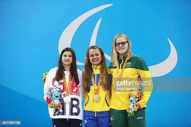 Silver medalist Abby Kane of Great Britain Gold medalist Anna Stetsenko of Ukraine and Bronze medalist Katja Dedekind of Australia pose on the podium...