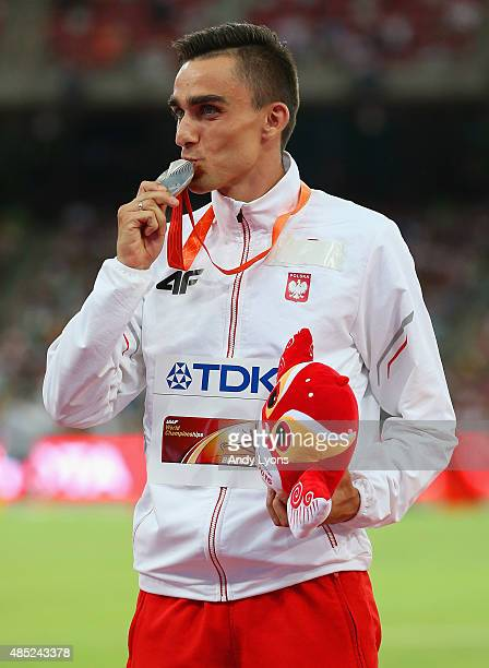 Silver medalist Adam Kszczot of Poland poses on the podium during the medal ceremony for the Men's 800 metres during day five of the 15th IAAF World...
