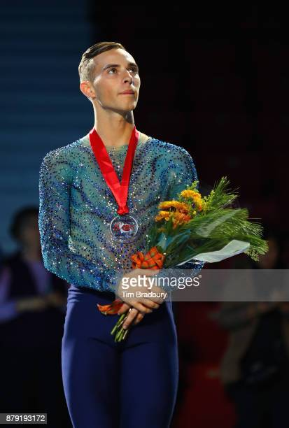 Silver medalist Adam Rippon of the United States looks on after competing in the Men's Free Skating during day two of 2017 Bridgestone Skate America...