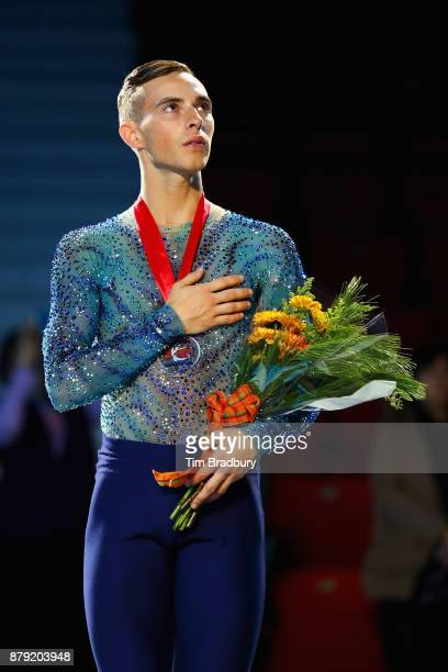 Silver medalist Adam Rippon of the United States stands for the national anthem after competing in the Men's Free Skating during day two of 2017...